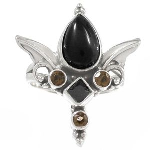 Silver Topaz and Onyx Ornate Ring Size 9